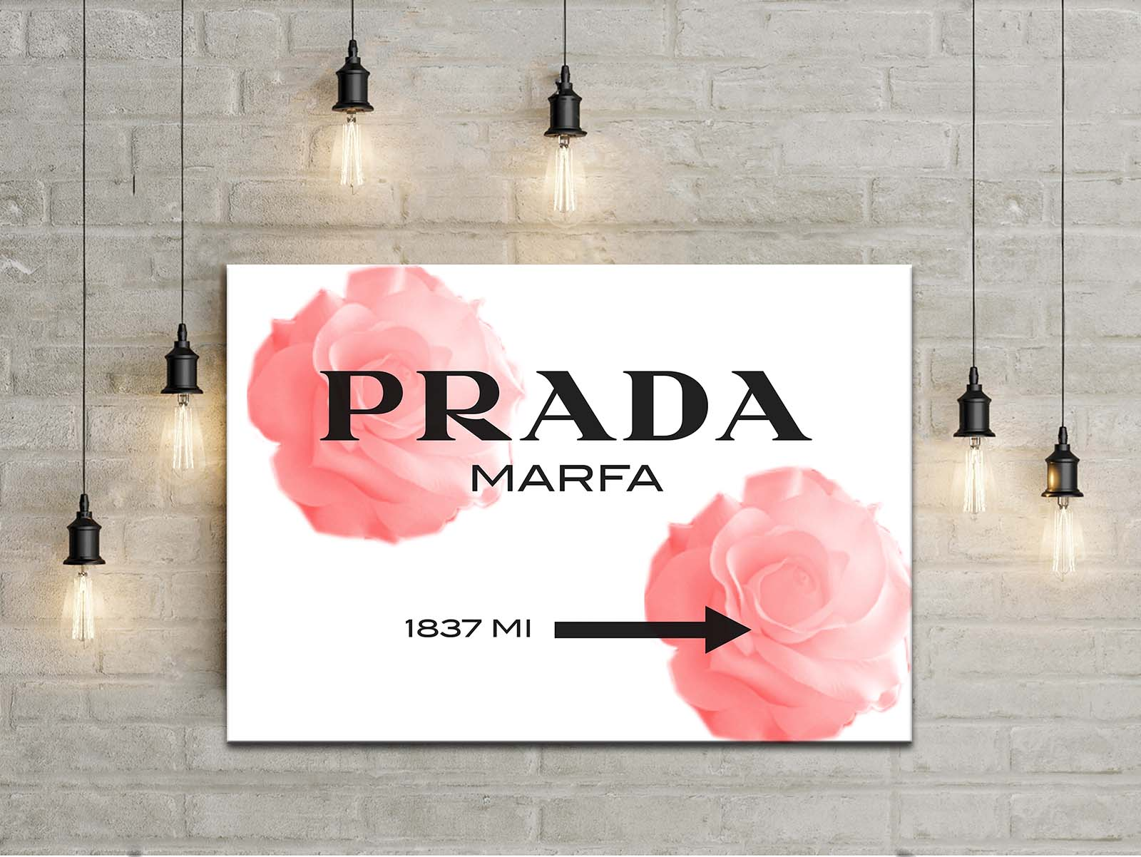 Prada Marfa roses impression sur toile